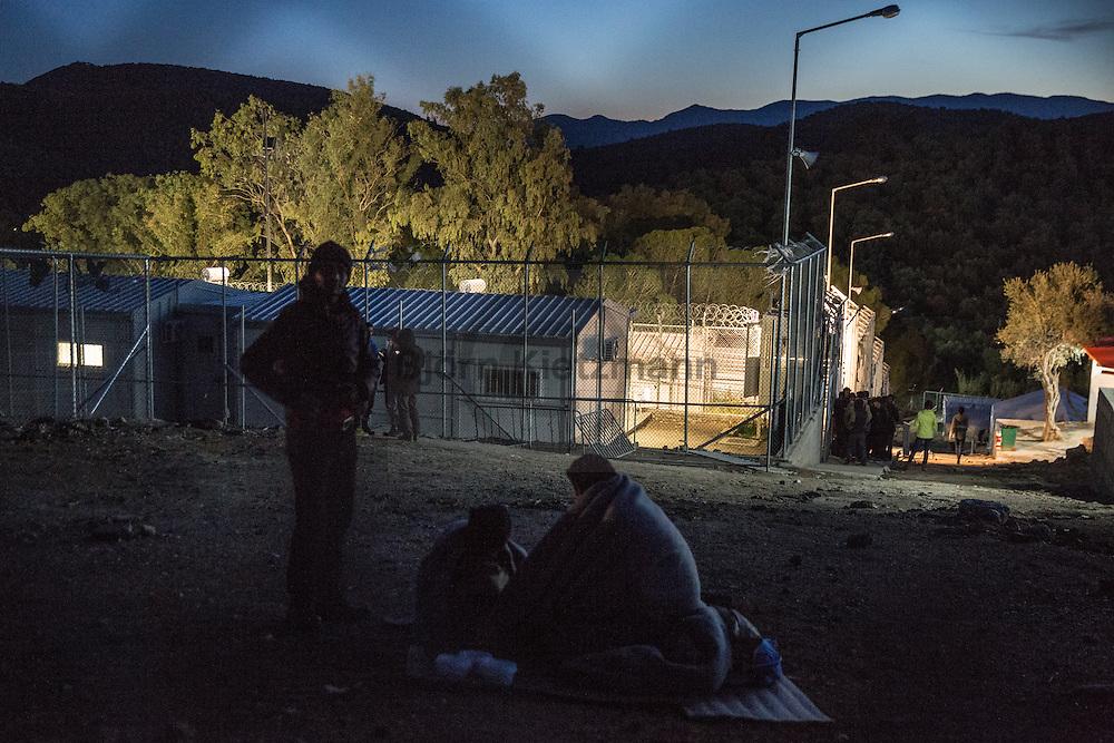 Moria, Lesvos, Greece - 05.03.2016        <br /> <br /> Moria Refugee camp on the Greek island Lesvos. The co-financed from EU funds refugee camp was originally built as deportation prison now it is the registration camp on the Aegean island. <br /> <br /> Moria Fluechtlingscamp auf der griechischen Insel Lesbos. Das aus EU-Mittel mitfinanzierte Lager wurde ursprünglich als Abschiebelgefaengnis gebaut nun ist es das Registrierungscamp fuer Fluechtlinge.<br />  <br /> Foto: Bjoern Kietzmann