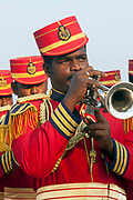 A Police band play at a concert on the beach, Pondicherry, India. Pondicherry now Puducherry is a Union Territory of India and was a French territory until 1954 legally on 16 August 1962. The French Quarter of the town retains a strong French influence in terms of architecture and culture.
