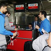 Turkish Basketball team Anadolu Efes's Dogus Balbay (R) and Furkan Korkmaz (L) seen during their Ataturk Airport in Istanbul Turkey on Wednesday 25 November 2015. Photo by Kurtulus YILMAZ/TURKPIX