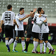 Besiktas's Veli Kavlak (2ndR) celebrate his goal with team mate during their Turkey Cup matchday 3 soccer match Besiktas between Gaziantepspor BSB at the Inonu stadium in Istanbul Turkey on Wednesday 11 January 2012. Photo by TURKPIX