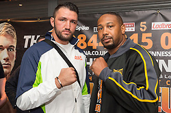 © Licensed to London News Pictures. 24/03/2016.  HUGHIE LEWIS FURY and DOMINICK GUNN attend a press conference for the fight at SSE Arena Wembley on Saturday 26th March 2016. London, UK. Photo credit: Ray Tang/LNP