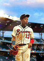 Braves Ronald Acuna during a game.<br /> <br /> Photo by Tom DiPace