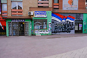 Sectarian graffiti adorns walls on the Serbian side north side of the Mitrovica bridge, over the river Ibar which separates the Serbian and Albanian districts of Mitrovica, Kosovo on the 12th of December 2018. Mitrovica or Kosovska Mitrovica is a city and municipality located in Kosovo. Settled on the banks of Ibar and Sitnica rivers, the city is the administrative centre of the Mitrovica District.