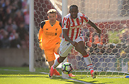Stoke city's Saido Berahino in action. Premier league match, Stoke City v Liverpool at the Bet365 Stadium in Stoke on Trent, Staffs on Saturday 8th April 2017.<br /> pic by Bradley Collyer, Andrew Orchard sports photography.