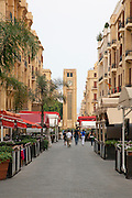 Restaurants line the streets towards Place d' Etoile (Nejmeh Square) and its Clocktower in Beirut, Lebanon