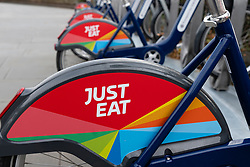 Detail of new rental bike scheme operated by Just Eat in Edinburgh, Scotland, UK.