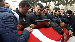 December 12, 2016 - Sinop, Turkey - People joined the funeral of  police officer Hakan Tanrikulu at Sinop who died Saturday's Istanbul Besiktas Vodafone Arena bombing in Istanbul, Turkey, 12th Dec. 2016. (Credit Image: © Dha/Depo Photos via ZUMA Wire)