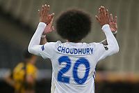 ATHENS, GREECE - OCTOBER 29: Hamza Choudhuryof Leicester City celebrates his own goal, second for his team, during the UEFA Europa League Group G stage match between AEK Athens and Leicester City at Athens Olympic Stadium on October 29, 2020 in Athens, Greece. (Photo by MB Media)