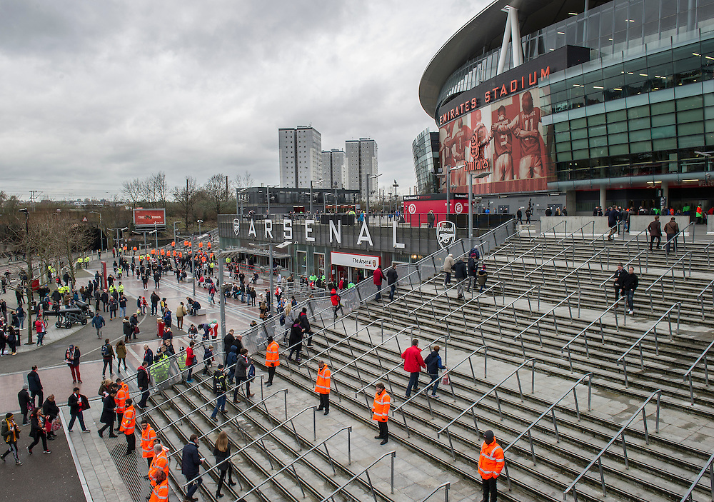 A general view of The Emirates Stadium, home of Arsenal<br /> <br /> Photographer Ashley Western/CameraSport<br /> <br /> Football - The FA Cup Fifth Round - Arsenal v Hull City - Saturday 20th February 2016 - Emirates Stadium - London<br /> <br /> © CameraSport - 43 Linden Ave. Countesthorpe. Leicester. England. LE8 5PG - Tel: +44 (0) 116 277 4147 - admin@camerasport.com - www.camerasport.com