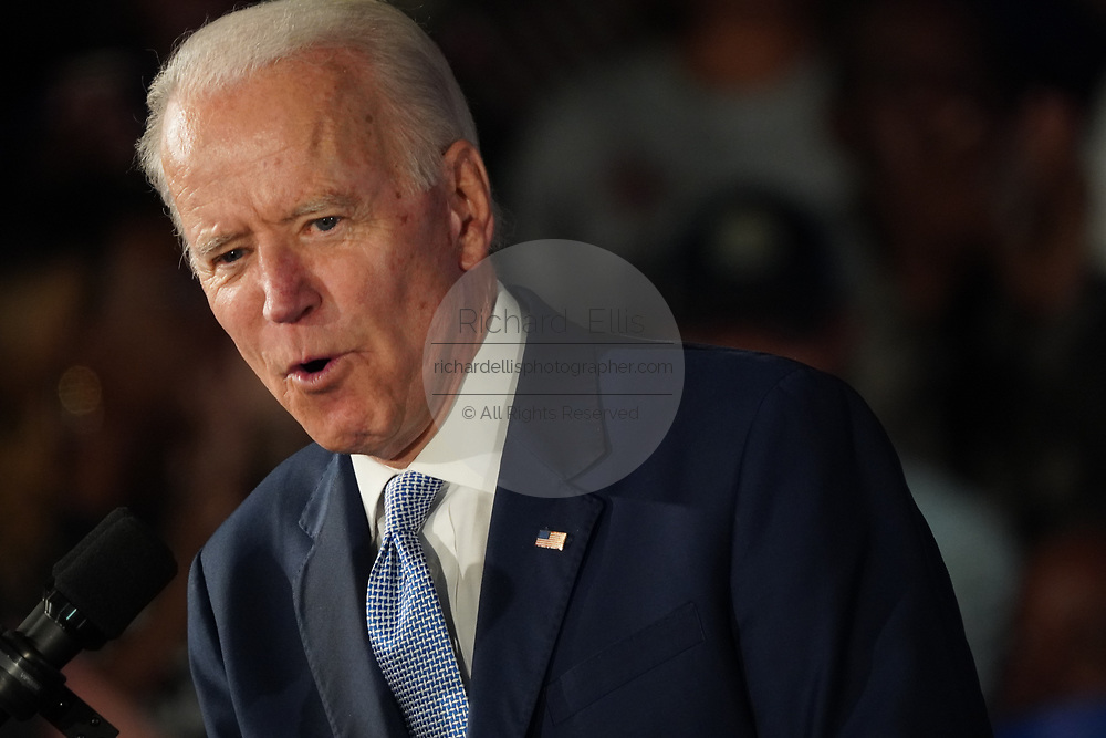 Democratic presidential candidate former Vice President Joe Biden, addresses his victory party after winning the South Carolina primary at the University of South Carolina February 29 2020, in Columbia, South Carolina.