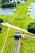Nederland, Gelderland, Duiven, 09-06-2016; Groessen, natuurgebied Kandia. Betuweroute met dienstgebouw van de tunnel onder het Pannerdensch kanaal, in Westelijke richting.<br /> Tunnel Betuweroute, freight railway, Pannerdensch channel (Lower Rhine) on the horizon.<br /> <br /> luchtfoto (toeslag op standard tarieven);<br /> aerial photo (additional fee required);<br /> copyright foto/photo Siebe Swart