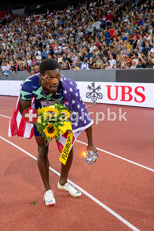 Fred Kerley of the United States celebrates after winning the 100m Men during the Iaaf Diamond League meeting (Weltklasse Zuerich) at the Letzigrund Stadium in Zurich, Switzerland, Thursday, Sept. 9, 2021. (Photo by Patrick B. Kraemer / MAGICPBK)