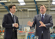 © Licensed to London News Pictures. 14/02/2013. Bedford, UK. Ed Balls (right) and Ed Miliband take part in a Q&A. Ed Miliband MP, Leader of the Labour Party, delivers a major speech at Bedford Training Group in Bedford today, 14th February 2013. In the speech he set out a 'One Nation Labour agenda for rebuilding Britain's economy'. The speech was followed by a Q&A session with Ed Balls, Shadow Chancellor and a tour of the training facility. Photo credit : Stephen Simpson/LNP