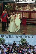 April 29th 2011 Royal Wedding. Trafalgar Square. Crowd and big screen.