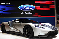12 February 2015: 2016 FORD GT: Supercar enthusiasts will be crowding around the 2016 Ford GT at the 2015 Chicago Auto Show. From its tear-drop shape to its aircraft-inspired fuselage and visibility-enhancing curved windshield, every slope and shape is designed to minimize drag and optimize downforce and stability. The GT is equipped with a 600-plus-horsepower twin-turbocharged EcoBoost V-6 engine that offers remarkable efficiency given its power output. Mated to the V-6 is a seven-speed dual-clutch transaxle that provides for near-instantaneous gear changes and exceptional driver control. The narrow-profile canopy reduces frontal area and caps a purposeful interior that provides state-of-the-art technology to ensure control, comfort and safety. Note that the active rear spoiler is keyed to speed and driver input, deploying and adjusting its height and/or pitch angle depending on conditions. Lightweight carbon fiber construction is used for body components, the two-seat passenger cell and brake discs. Driver and passenger access is provided by upward-swinging doors. An F1-style steering wheel integrates all necessary driver controls, creating a stalkless steering column that allows uncluttered access to the transmission paddle-shift controls. A digital instrument cluster provides a wealth of driver-focused data. The display is configurable for multiple driving environments and different driving modes. Beginning production in 2016, Ford GT arrives in select global markets to celebrate the 50th anniversary of Ford GT race cars placing 1-2-3 at the 1966 24 Hours of Le Mans.<br /> <br /> First staged in 1901, the Chicago Auto Show is the largest auto show in North America and has been held more times than any other auto exposition on the continent. The 2015 show marks the 107th edition of the Chicago Auto Show. It has been  presented by the Chicago Automobile Trade Association (CATA) since 1935.  It is held at McCormick Place, Chicago Illinois