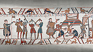 Bayeux Tapestry scene 45:  Norman soldiers train and built a fortified camp. .<br /> <br /> If you prefer you can also buy from our ALAMY PHOTO LIBRARY  Collection visit : https://www.alamy.com/portfolio/paul-williams-funkystock/bayeux-tapestry-medieval-art.html  if you know the scene number you want enter BXY followed bt the scene no into the SEARCH WITHIN GALLERY box  i.e BYX 22 for scene 22)<br /> <br />  Visit our MEDIEVAL ART PHOTO COLLECTIONS for more   photos  to download or buy as prints https://funkystock.photoshelter.com/gallery-collection/Medieval-Middle-Ages-Art-Artefacts-Antiquities-Pictures-Images-of/C0000YpKXiAHnG2k