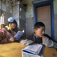MONGOLIA, Darhad Valley. Children at Rinchenlhumbe boarding school, who may not see migrating parents for months.
