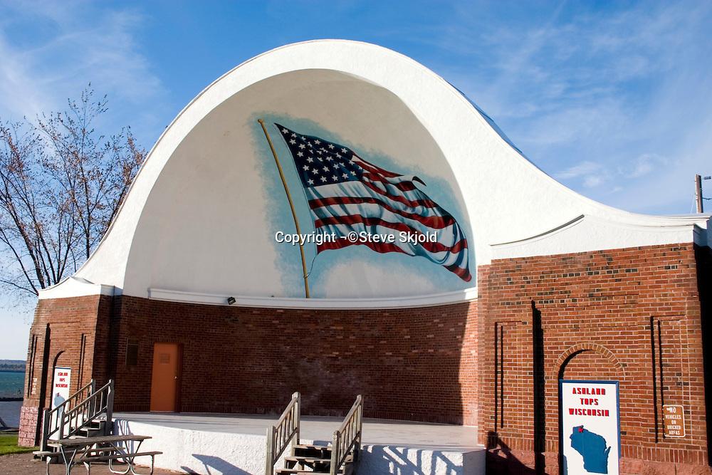 Amphitheater at Ashland Memorial Park overlooking Lake Superior.  Ashland Wisconsin USA