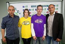 Darko Birjukov, coach of NK Domzale, Maja Zugec, 12th player of NK Domzale, David Ferk, 12th player of NK Maribor and Darko Milanic, coach of NK Maribor during press conference of Hervis Cup 2011, on May 23, 2011 in Stozice, Ljubljana, Slovenia. NK Domzale and NK Maribor will play in the Final of Hervis Cup 2011 at Stozice Stadium.  (Photo By Vid Ponikvar / Sportida.com)