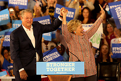 Hillary Clinton takes the stage in Miami at Miami Dade College in Kendall with former Vice President Al Gore. The two discussed climate change as well as the upcoming election. Miami, FL, USA, October 11, 2016. Photo by Mike Stocker/Sun-Sentinel/TNS/ABACAPRESS.COM