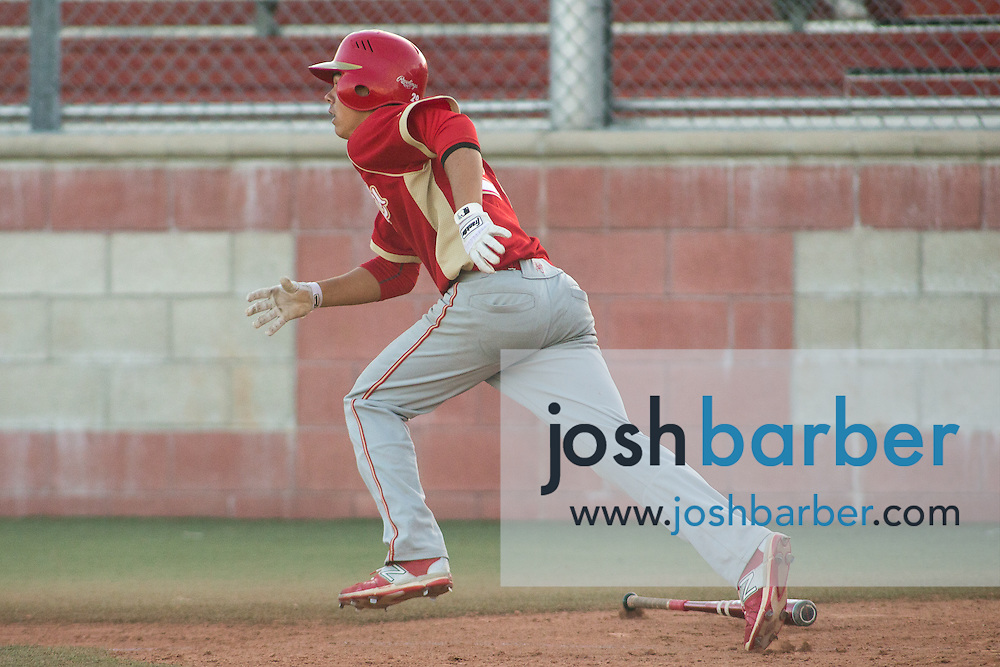 Orange Lutheran's Nathan Flores (29) watches his grad slam during a Trinity League game at Mater Dei High School on Friday, May 1, 2015 in Santa Ana, Calif. (Photo/Josh Barber)