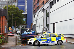 © Licensed to London News Pictures. 14/07/2019. London, UK. The scene near Lombard Road in Battersea, south west London after a car was driven into a group of people leaving a hotel. Three men have been arrested on suspicion of murder after the incident which took place at 11. 15pm on Saturday night. One man has a broken leg and six other people also sustained minor injuries. Photo credit: Peter Macdiarmid/LNP