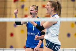 Christie Wolt #1 of Sliedrecht Sport celebratein the first league match in the corona lockdown between Talentteam Papendal vs. Sliedrecht Sport on January 09, 2021 in Ede.