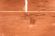 Print in the sand during the Roland Garros French Tennis Open 2018, Preview, on May 21 to 26, 2018, at the Roland Garros Stadium in Paris, France - Photo Pierre Charlier / ProSportsImages / DPPI