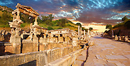 The Fountain of Emperor Trajan and  Curetes Street constructed between 102 - 114 A.D. Ephesus Archaeological Site, Anatolia, Turkey.