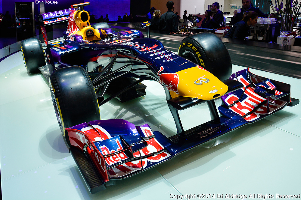 GENEVA, SWITZERLAND - MARCH 4, 2014: Infinity powered Red Bull Formula 1 car driven by Sebastian Vettel on display during the Geneva Motor Show.