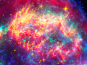 The many sides of the supernova remnant Cassiopeia A. Located 10,000 light-years away in the northern constellation Cassiopeia, Cassiopeia A is the remnant of a once massive star that died in a violent supernova explosion 325 years ago. Hubble Space Telescope (HST), Spitzer Space Telescope.