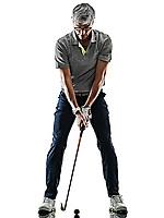 one caucasian senior man golfer golfing  in studio shadow silhouette isolated on white background