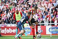 Middlesbrough midfielder Adam Forshaw (34)  battles with Sunderland  midfielder, on loan from Manchester United, Adnan Januzaj (44)  during the Premier League match between Sunderland and Middlesbrough at the Stadium Of Light, Sunderland, England on 21 August 2016. Photo by Simon Davies.