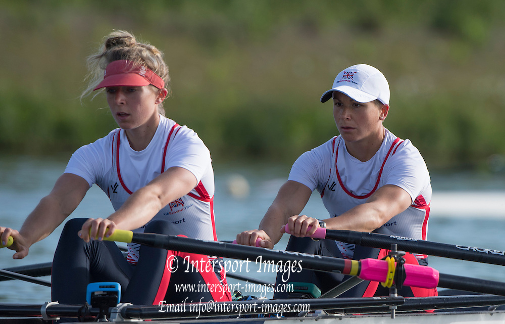 Caversham. Reading. GBR LW2X, Bow Charlotte Taylor ans kat COPELAND, GBRowing  European Team Announcement, GB Training Base Reading. 13.05.2015. Wednesday. [Mandatory Credit: Peter Spurrier/Intersport-images.com