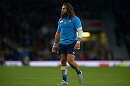 Martin Castrogiovanni of Italy looking on. Rugby World Cup 2015 pool D match, France v Italy at Twickenham Stadium in London on Saturday 19th September 2015.<br /> pic by John Patrick Fletcher, Andrew Orchard sports photography.