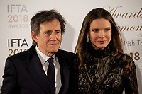 Gabriel Byrne and Hannah Beth King at the IFTA Film & Drama Awards (The Irish Film & Television Academy) at the Mansion House in Dublin, Ireland, Thursday 15th February 2018. Photographer: Doreen Kennedy
