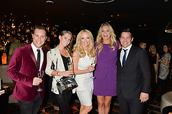 Left to right, KIERAN JAE, JUDE CISSE, LIZ McCLARNON, EMMA SAYLE and JAMES TINDALL  at a party to celebrate the publication of Behind The Mask by Emma Sayle held at The Playboy Club, 14 Old Park Lane, London on 23rd April 2014.
