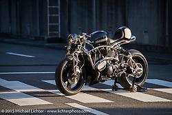 """Kross"" Kaichiroh Kurosu's (Cherry's Company) entry in the Harley-Davidson Street 750 Build Off at Mooneyes Yokohama Hot Rod & Custom Show. Yokohama, Japan. December 5, 2015.  Photography ©2015 Michael Lichter."