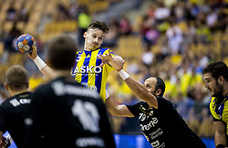 Jaka Malus of Celje vs Alem Toskic of Gorenje during handball match between RK Celje Pivovarna Lasko and RK Gorenje Velenje in Last Round of 1. Liga NLB 2016/17, on June 2, 2017 in Arena Zlatorog, Celje, Slovenia. Photo by Vid Ponikvar / Sportida