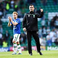 "15/07/15 UEFA CHAMPIONS LEAGUE QUALIFIER<br /> CELTIC V STJARNAN<br /> CELTIC PARK - GLASGOW<br /> Celtic manager Ronny Deila gives the ""Ronny Roar"" to the home fans at full-time."
