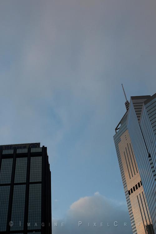 Hong Kong Skyline as seen from near the Wan Chai Ferry Terminal.