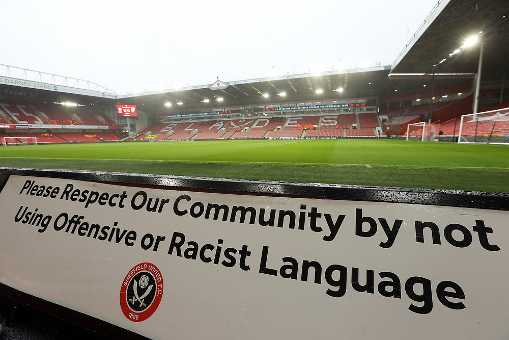 A pitch-side anti racism banner at Bramall Lane, home of Sheffield United<br /> <br /> Photographer Rich Linley/CameraSport<br /> <br /> The Premier League - Sheffield United v Burnley - Saturday 2nd November 2019 - Bramall Lane - Sheffield<br /> <br /> World Copyright © 2019 CameraSport. All rights reserved. 43 Linden Ave. Countesthorpe. Leicester. England. LE8 5PG - Tel: +44 (0) 116 277 4147 - admin@camerasport.com - www.camerasport.com