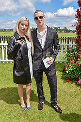 Joanna Kuchta and Patrick Gibson at the Cartier Queen's Cup Polo 2019 held at Guards Polo Club, Windsor, Berkshire. UK 16 June 2019. <br /> <br /> Photo by Dominic O'Neill/Desmond O'Neill Features Ltd.  +44(0)7092 235465  www.donfeatures.com