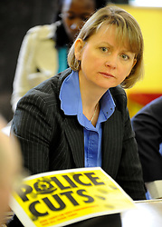 ©London News pictures. 03.03..2011. Yvette Cooper as part of Labour's 'New Politics Fresh Ideas' campaign pays a visit to Coley, Reading, where local neighbourhood wardens have just been cut. The campaign is part of the biggest review of Labour Party policy for nearly 20 years. Members of the public come along and discuss their concerns/ hopes/ ideas and it all gets fed into a Labour policy review.. Picture Credit should read Stephen Simpson/LNP