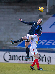 Raith Rovers Iain Davidson over Airdrie's Dale Carrick. Raith Rovers 2 v 1 Airdrie, Scottish Football League Division One game played 10/2/2018 at Stark's Park, Kirkcaldy.