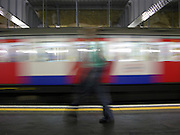 A speeding train in the London tube