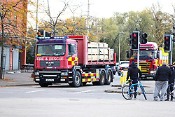 Fire service equipment arrives outside the King Power Stadium in Leicester after the helicopter of Leicester City Football Club owner Vichai Srivaddhanaprabha crashed.