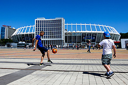 Children have a kick about out side the Olympic Stadium in Kiev for the Champions League Final between Liverpool and Real Madrid - Mandatory by-line: Robbie Stephenson/JMP - 26/05/2018 - FOOTBALL - Olympic Stadium - Kiev,  - Real Madrid v Liverpool - UEFA Champions League Final