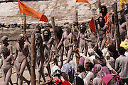 Naked nagas parading down to the Ganges for a bath. Every 12 years, millions of devout Hindus celebrate the month-long festival of Kumbh Mela by bathing in the holy waters of the Ganges at Hardiwar, India. Hundreds of ashrams set up dusty, sprawling camps that stretch for miles. Under the watchful eye of police and lifeguards, the faithful throng to bathe in the river.