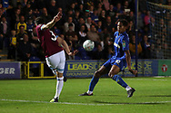AFC Wimbledon defender Toby Sibbick (20) blocking a cross during the EFL Carabao Cup 2nd round match between AFC Wimbledon and West Ham United at the Cherry Red Records Stadium, Kingston, England on 28 August 2018.